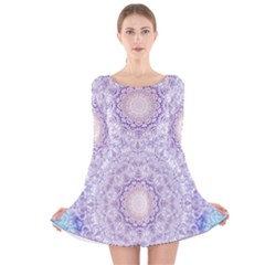 India Mehndi Style Mandala   Cyan Lilac Long Sleeve Velvet Skater Dress