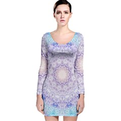 India Mehndi Style Mandala   Cyan Lilac Long Sleeve Velvet Bodycon Dress