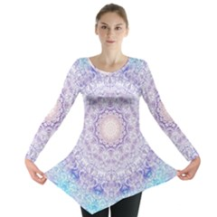 India Mehndi Style Mandala   Cyan Lilac Long Sleeve Tunic