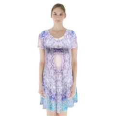 India Mehndi Style Mandala   Cyan Lilac Short Sleeve V-neck Flare Dress