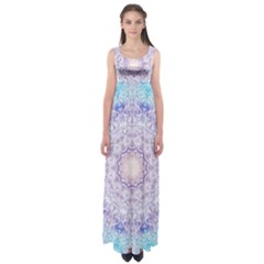 India Mehndi Style Mandala   Cyan Lilac Empire Waist Maxi Dress