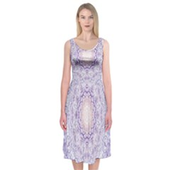 India Mehndi Style Mandala   Cyan Lilac Midi Sleeveless Dress