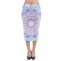 India Mehndi Style Mandala   Cyan Lilac Midi Pencil Skirt