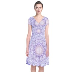 India Mehndi Style Mandala   Cyan Lilac Short Sleeve Front Wrap Dress