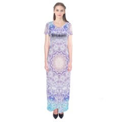 India Mehndi Style Mandala   Cyan Lilac Short Sleeve Maxi Dress