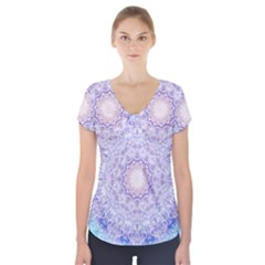 India Mehndi Style Mandala   Cyan Lilac Short Sleeve Front Detail Top