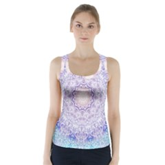 India Mehndi Style Mandala   Cyan Lilac Racer Back Sports Top