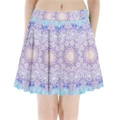 India Mehndi Style Mandala   Cyan Lilac Pleated Mini Skirt