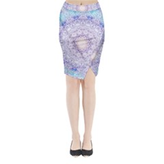 India Mehndi Style Mandala   Cyan Lilac Midi Wrap Pencil Skirt