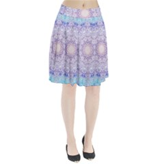 India Mehndi Style Mandala   Cyan Lilac Pleated Skirt