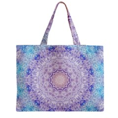 India Mehndi Style Mandala   Cyan Lilac Medium Tote Bag