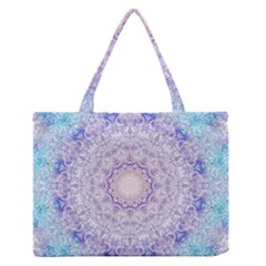 India Mehndi Style Mandala   Cyan Lilac Medium Zipper Tote Bag