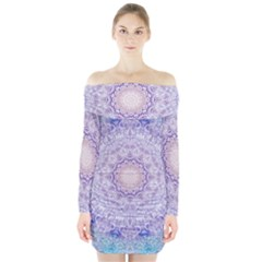 India Mehndi Style Mandala   Cyan Lilac Long Sleeve Off Shoulder Dress