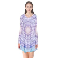 India Mehndi Style Mandala   Cyan Lilac Flare Dress