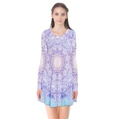 India Mehndi Style Mandala   Cyan Lilac Flare Dress