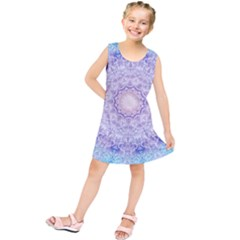 India Mehndi Style Mandala   Cyan Lilac Kids  Tunic Dress