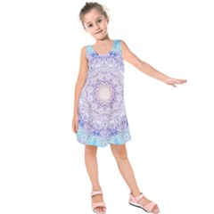 India Mehndi Style Mandala   Cyan Lilac Kids  Sleeveless Dress