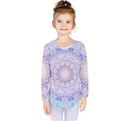 India Mehndi Style Mandala   Cyan Lilac Kids  Long Sleeve Tee