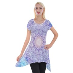 India Mehndi Style Mandala   Cyan Lilac Short Sleeve Side Drop Tunic