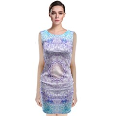 India Mehndi Style Mandala   Cyan Lilac Sleeveless Velvet Midi Dress