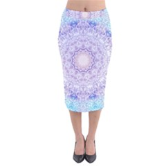 India Mehndi Style Mandala   Cyan Lilac Velvet Midi Pencil Skirt