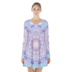 India Mehndi Style Mandala   Cyan Lilac Long Sleeve Velvet V-neck Dress