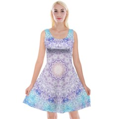 India Mehndi Style Mandala   Cyan Lilac Reversible Velvet Sleeveless Dress