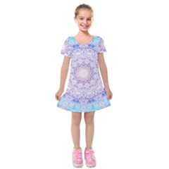 India Mehndi Style Mandala   Cyan Lilac Kids  Short Sleeve Velvet Dress