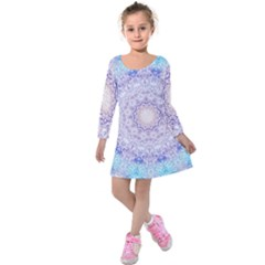 India Mehndi Style Mandala   Cyan Lilac Kids  Long Sleeve Velvet Dress