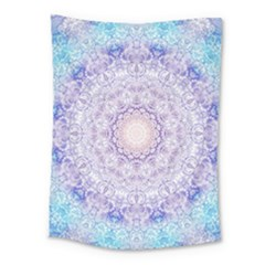 India Mehndi Style Mandala   Cyan Lilac Medium Tapestry