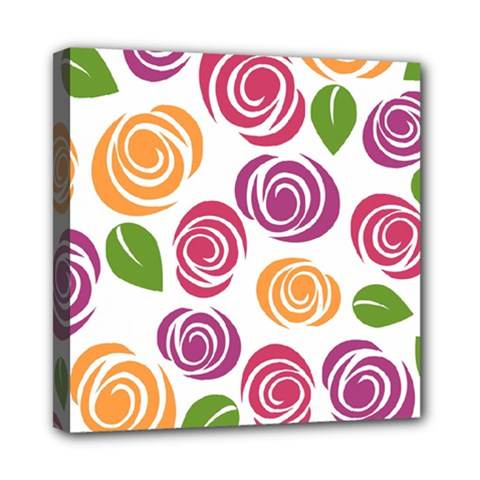Colorful Seamless Floral Flowers Pattern Wallpaper Background Mini Canvas 8  X 8