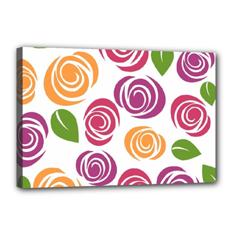 Colorful Seamless Floral Flowers Pattern Wallpaper Background Canvas 18  X 12