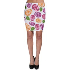 Colorful Seamless Floral Flowers Pattern Wallpaper Background Bodycon Skirt