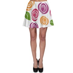 Colorful Seamless Floral Flowers Pattern Wallpaper Background Skater Skirt