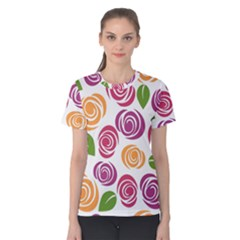 Colorful Seamless Floral Flowers Pattern Wallpaper Background Women s Cotton Tee