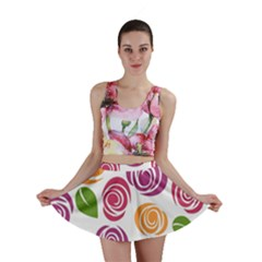 Colorful Seamless Floral Flowers Pattern Wallpaper Background Mini Skirt