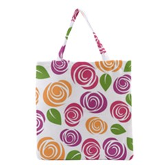 Colorful Seamless Floral Flowers Pattern Wallpaper Background Grocery Tote Bag