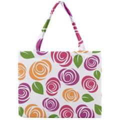 Colorful Seamless Floral Flowers Pattern Wallpaper Background Mini Tote Bag