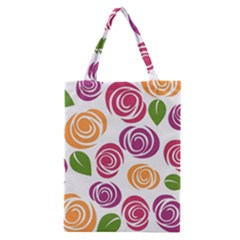 Colorful Seamless Floral Flowers Pattern Wallpaper Background Classic Tote Bag