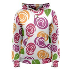 Colorful Seamless Floral Flowers Pattern Wallpaper Background Women s Pullover Hoodie