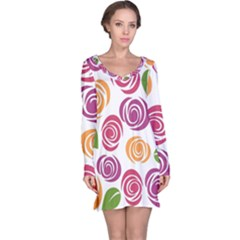 Colorful Seamless Floral Flowers Pattern Wallpaper Background Long Sleeve Nightdress