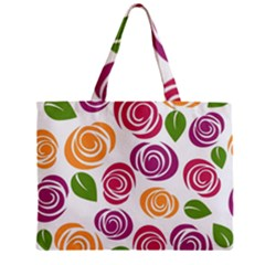 Colorful Seamless Floral Flowers Pattern Wallpaper Background Zipper Mini Tote Bag