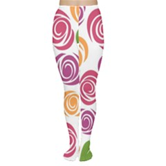 Colorful Seamless Floral Flowers Pattern Wallpaper Background Women s Tights