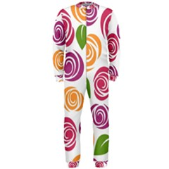 Colorful Seamless Floral Flowers Pattern Wallpaper Background Onepiece Jumpsuit (men)