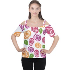 Colorful Seamless Floral Flowers Pattern Wallpaper Background Women s Cutout Shoulder Tee