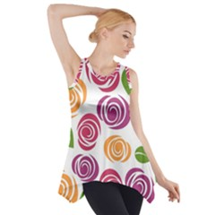 Colorful Seamless Floral Flowers Pattern Wallpaper Background Side Drop Tank Tunic