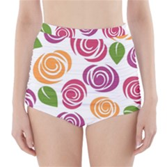 Colorful Seamless Floral Flowers Pattern Wallpaper Background High-Waisted Bikini Bottoms