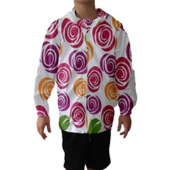 Colorful Seamless Floral Flowers Pattern Wallpaper Background Hooded Wind Breaker (kids)