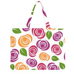 Colorful Seamless Floral Flowers Pattern Wallpaper Background Large Tote Bag
