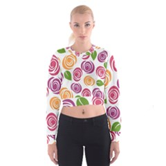 Colorful Seamless Floral Flowers Pattern Wallpaper Background Women s Cropped Sweatshirt